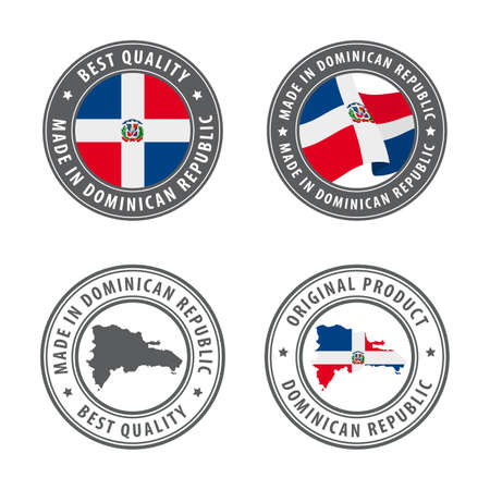 Made in Dominican Republic - set of labels, stamps, badges, with the Dominican Republic map and flag. Best quality. Original product. Vector illustration