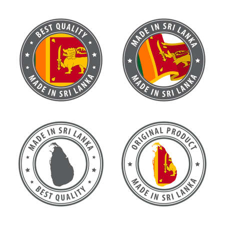 Made in Sri Lanka - set of labels, stamps, badges, with the Sri Lanka map and flag. Best quality. Original product. Vector illustration