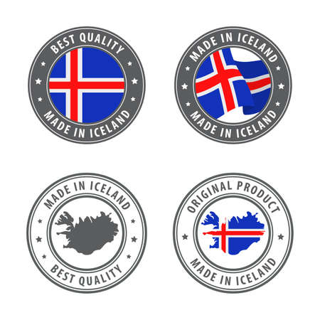 Made in Iceland - set of labels, stamps, badges, with the Iceland map and flag. Best quality. Original product. Vector illustration Illusztráció