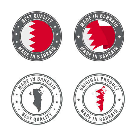 Made in Bahrain - set of labels, stamps, badges, with the Bahrain map and flag. Best quality. Original product. Vector illustration Illusztráció