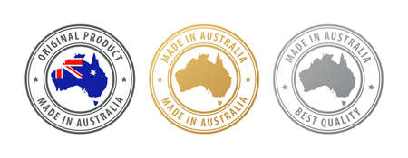 Made in Australia - set of stamps with map and flag. Best quality. Original product. Vector illustration