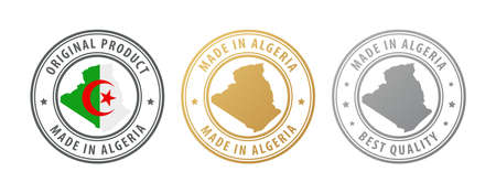 Made in Algeria - set of stamps with map and flag. Best quality. Original product. Vector illustration