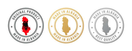 Made in Albania - set of stamps with map and flag. Best quality. Original product. Vector illustration
