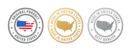 Made in United States - set of stamps with map and flag. Best quality. Original product. Vector illustration
