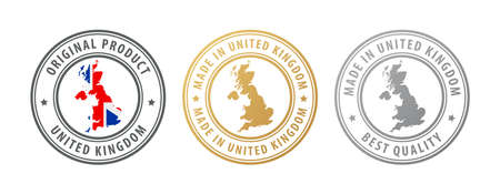 Made in United Kingdom - set of stamps with map and flag. Best quality. Original product. Vector illustration