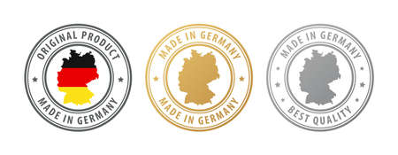 Made in Germany - set of stamps with map and flag. Best quality. Original product. Vector illustration