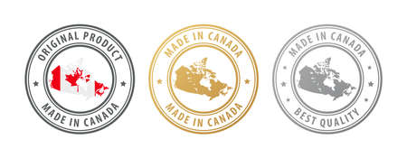 Made in Canada - set of stamps with map and flag. Best quality. Original product. Vector illustration