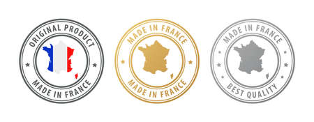 Made in France - set of stamps with map and flag. Best quality. Original product. Vector illustration