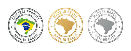 Made in Brazil - set of stamps with map and flag. Best quality. Original product. Vector illustration