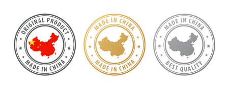 Made in China - set of stamps with map and flag. Best quality. Original product. Vector illustration