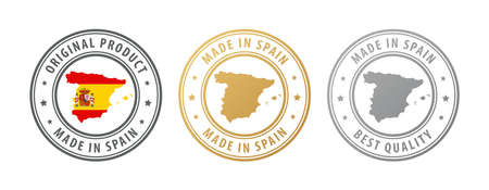 Made in Spain - set of stamps with map and flag. Best quality. Original product. Vector illustration