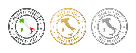 Made in Italy - set of stamps with map and flag. Best quality. Original product. Vector illustration