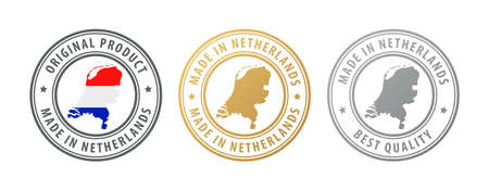 Made in Netherlands - set of stamps with map and flag. Best quality. Original product. Vector illustration