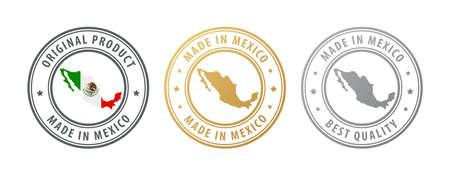 Made in Mexico - set of stamps with map and flag. Best quality. Original product. Vector illustration Illusztráció