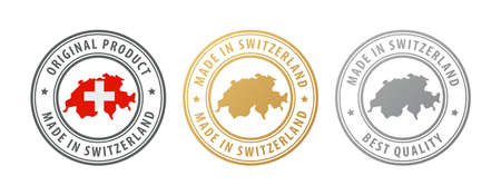 Made in Switzerland - set of stamps with map and flag. Best quality. Original product. Vector illustration