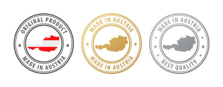 Made in Austria - set of stamps with map and flag. Best quality. Original product. Vector illustration