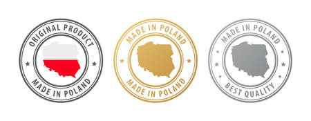 Made in Poland - set of stamps with map and flag. Best quality. Original product. Vector illustration