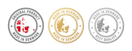 Made in Denmark - set of stamps with map and flag. Best quality. Original product. Vector illustration