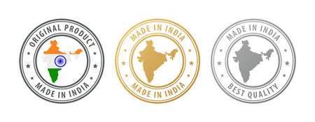 Made in India - set of stamps with map and flag. Best quality. Original product. Vector illustration