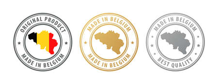 Made in Belgium - set of stamps with map and flag. Best quality. Original product. Vector illustration
