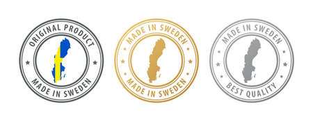 Made in Sweden - set of stamps with map and flag. Best quality. Original product. Vector illustration