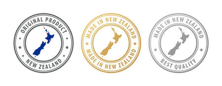 Made in New Zealand - set of stamps with map and flag. Best quality. Original product. Vector illustration Illusztráció