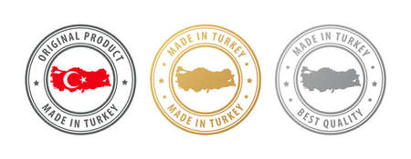 Made in Turkey - set of stamps with map and flag. Best quality. Original product. Vector illustration