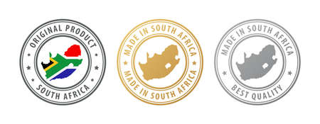 Made in South Africa - set of stamps with map and flag. Best quality. Original product. Vector illustration