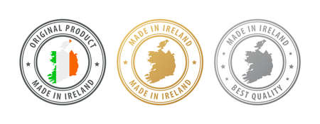 Made in Ireland - set of stamps with map and flag. Best quality. Original product. Vector illustration