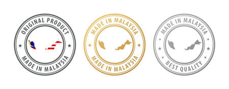 Made in Malaysia - set of stamps with map and flag. Best quality. Original product. Vector illustration Illusztráció