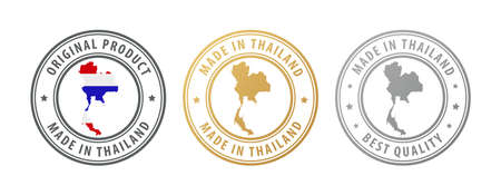 Made in Thailand - set of stamps with map and flag. Best quality. Original product. Vector illustration Illusztráció