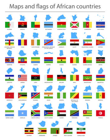 Africa. Country border maps and flags. Vector illustration