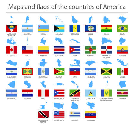 North and South America. Country border maps and flags. Vector illustration