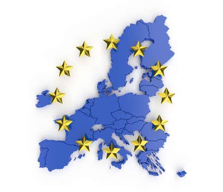 Blue EU card and gold stars. 3d render Stock fotó