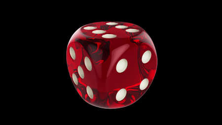 Red dice on a black background. Poker, casino. 3D render.