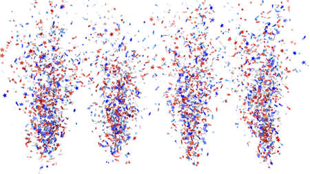 Festive explosion of blue, red and white confetti on a white background. 3d render