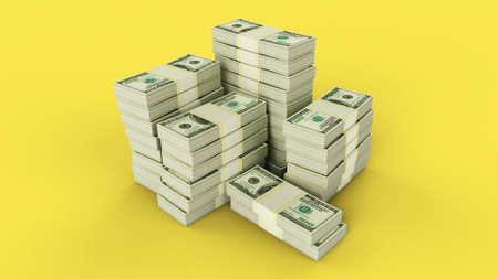 Bundles of dollars collected in piles on yellow background. 3d render