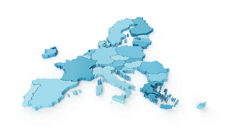 Light blue 3D map of the European Union on a white background. 3d render