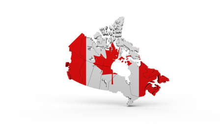 Canada flag shaped country map on white background 3D renderin Stock fotó