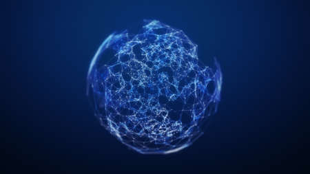 Blue Plexus Sphere Wire-frame Technology Background. 3D rendering.