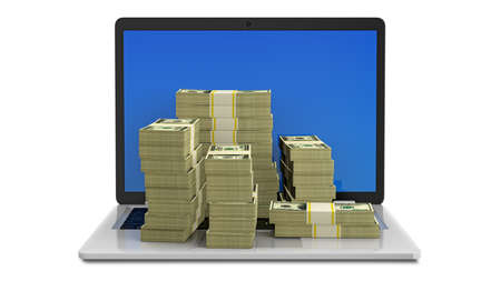 Open laptop with bundles of dollars in 100 dollar bills on laptop keyboard. Make money online through online business or network marketing. make money online. 3D render.