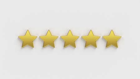Five star rating. Five of the five gold rating stars on a white background. Rate a company or app online. 5 gold stars for customer quality review illustration. 3D rendering