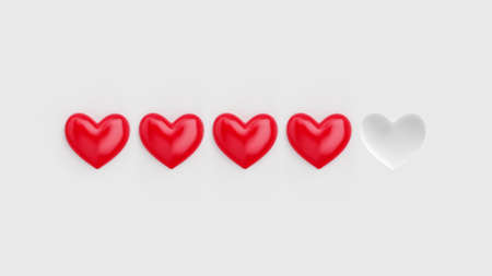 Five heart rating. Four of five red hearts. Rating consisting of red hearts on a white background. 3D rendering