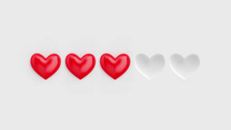 Five heart rating. Three of five red hearts. Rating consisting of red hearts on a white background. 3D rendering