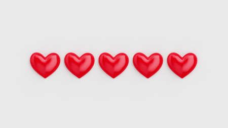Five heart rating. Five of five red hearts. Rating consisting of red hearts on a white background. 3D rendering