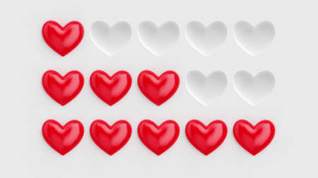 Five heart rating. Rating consisting of red hearts on a white background. 3D rendering