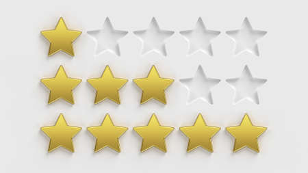 Five star rating. Gold stars on a white background. Rate a company or app online. 5 gold stars for customer quality review illustration. 3D rendering