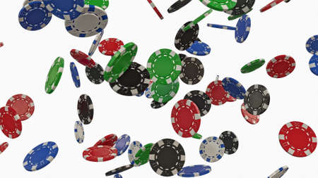 Falling poker chips on a white background. 3D rendering