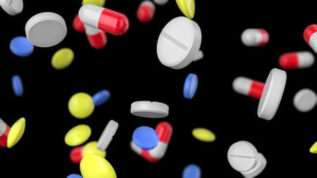 Colored pills of different shapes are falling on a black background. Pharmaceutical concept. 3D rendering Stock fotó