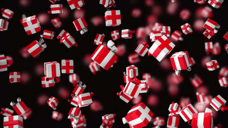 Gift boxes are falling on a black background with depth of field. Bright red white festive background. 3D rendering